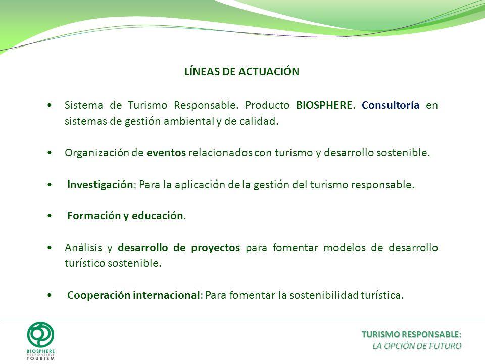 LÍNEAS DE ACTUACIÓN Sistema de Turismo Responsable. Producto BIOSPHERE. Consultoría en sistemas de gestión ambiental y de calidad. Organización de eve