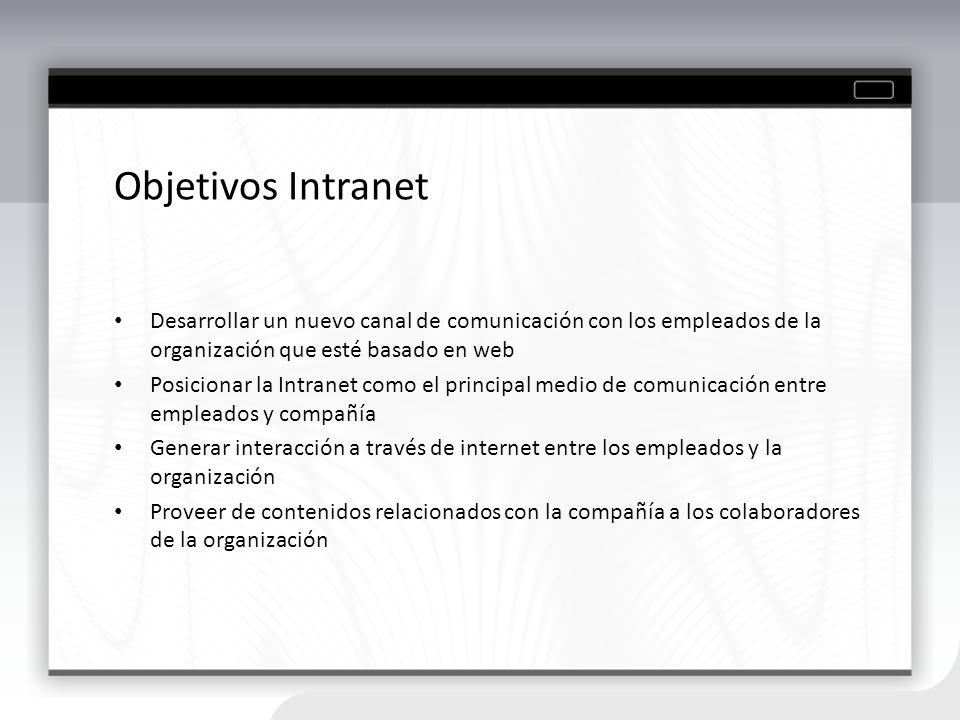 Objetivos Sitio Web Potenciar el uso del sitio web como canal de comunicación con los clientes de la compañía Contar con un sitio dinámico y bien estructurado Contar con un administrador de contenidos Proveer de contenidos relacionados con la compañía a los clientes de la organización