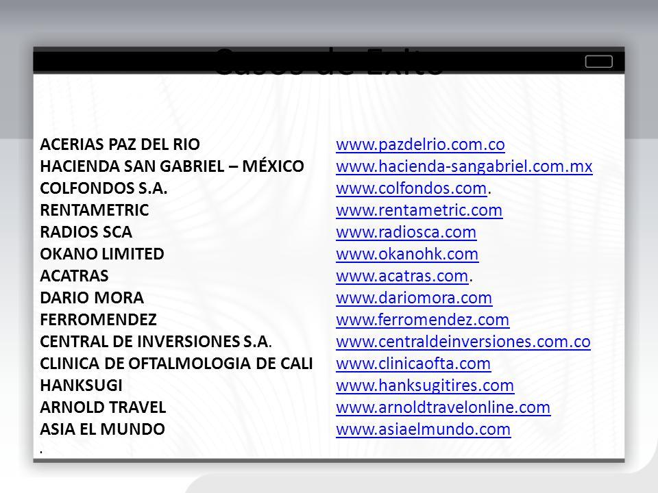 Casos de Exito ACERIAS PAZ DEL RIO www.pazdelrio.com.cowww.pazdelrio.com.co HACIENDA SAN GABRIEL – MÉXICO www.hacienda-sangabriel.com.mxwww.hacienda-s