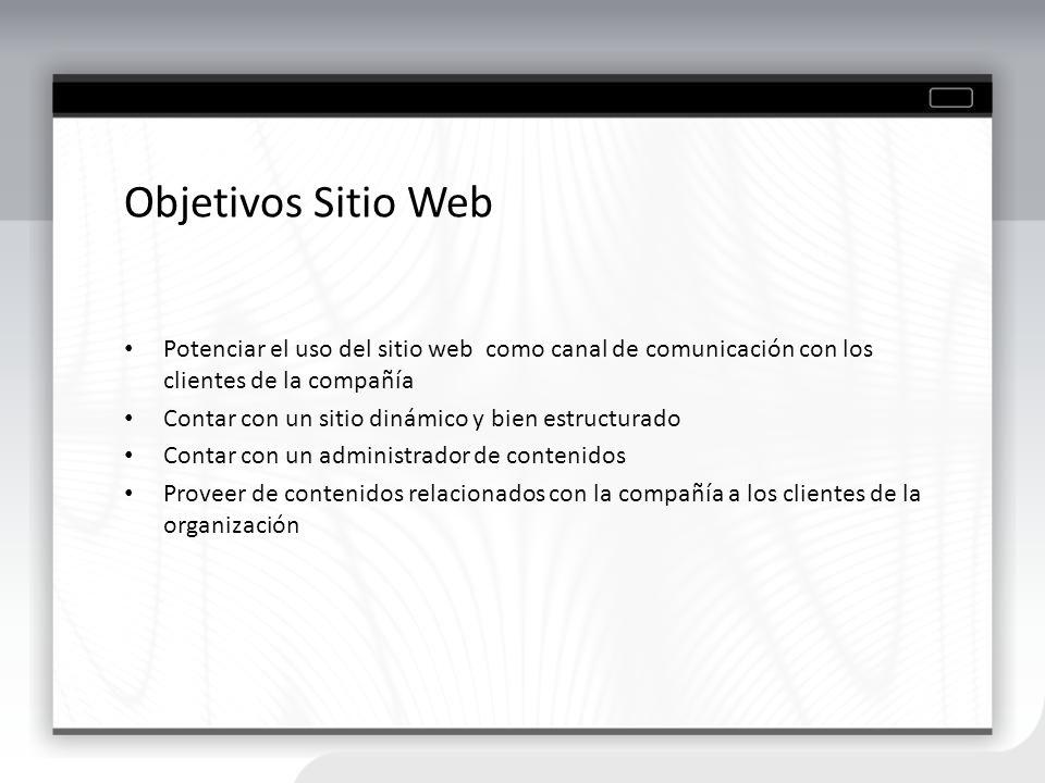 Objetivos Sitio Web Potenciar el uso del sitio web como canal de comunicación con los clientes de la compañía Contar con un sitio dinámico y bien estr