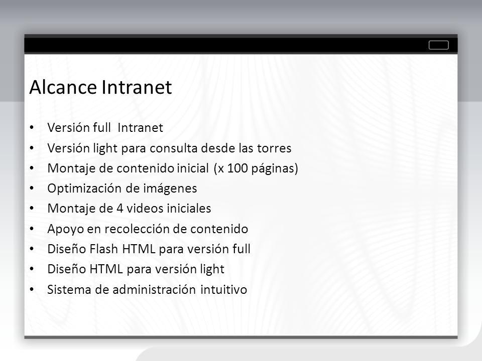 Alcance Intranet Versión full Intranet Versión light para consulta desde las torres Montaje de contenido inicial (x 100 páginas) Optimización de imáge