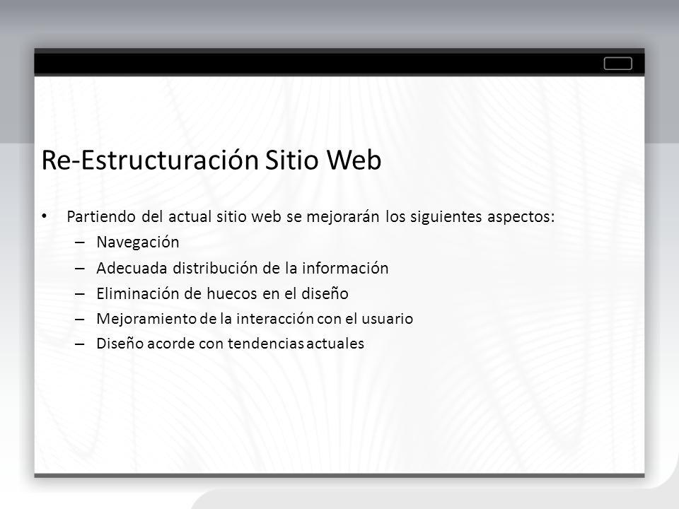 Re-Estructuración Sitio Web Partiendo del actual sitio web se mejorarán los siguientes aspectos: – Navegación – Adecuada distribución de la informació