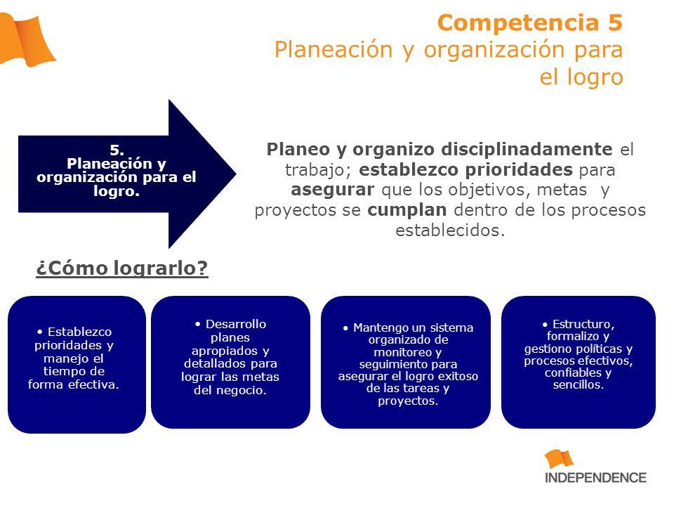 Competencia 5 Planeación y organización para el logro Planeo y organizo disciplinadamente el trabajo; establezco prioridades para asegurar que los obj