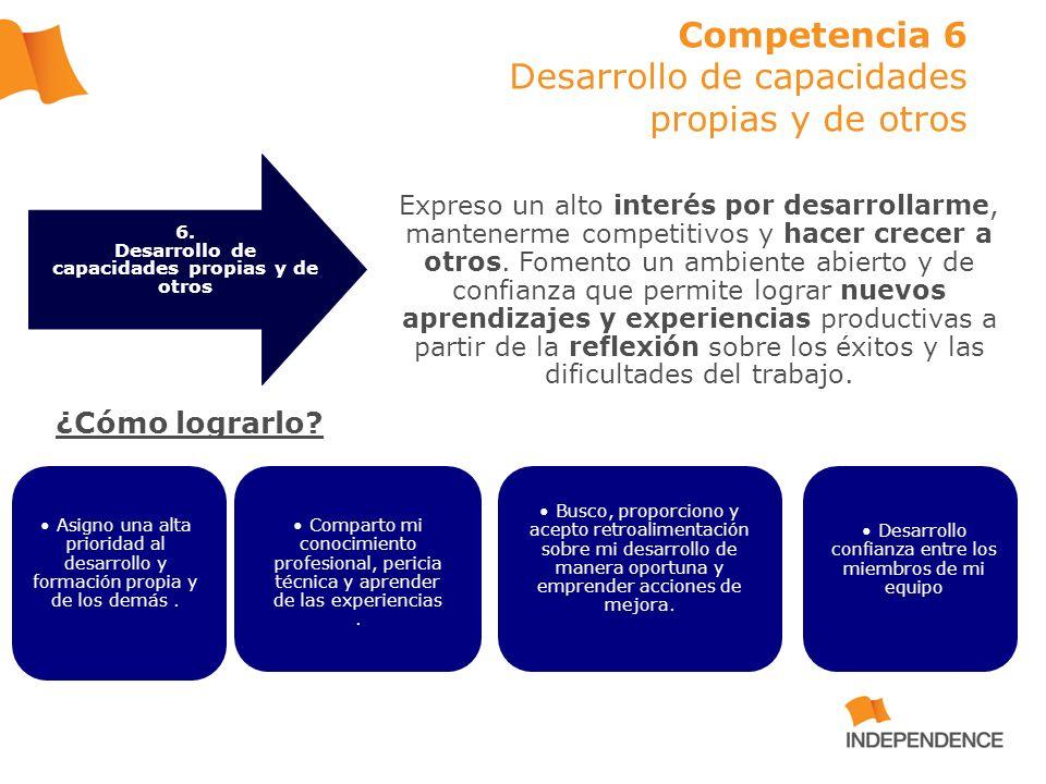 Competencia 6 Desarrollo de capacidades propias y de otros Expreso un alto interés por desarrollarme, mantenerme competitivos y hacer crecer a otros.