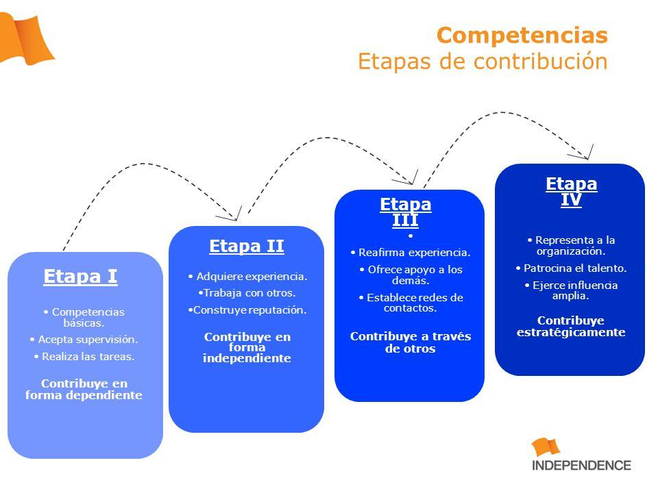 Etapa I Competencias básicas. Acepta supervisión. Realiza las tareas. Contribuye en forma dependiente Etapa II Adquiere experiencia. Trabaja con otros
