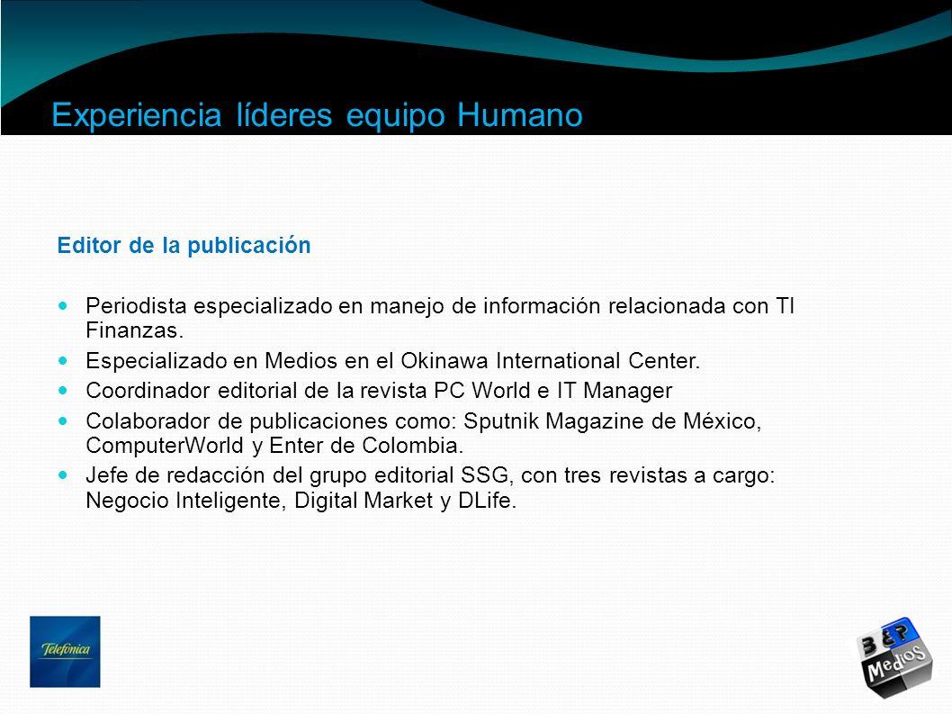 Experiencia líderes equipo Humano Editor de la publicación Periodista especializado en manejo de información relacionada con TI Finanzas. Especializad