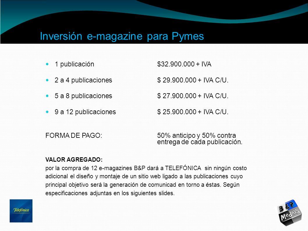 Inversión e-magazine para Pymes 1 publicación$32.900.000 + IVA 2 a 4 publicaciones$ 29.900.000 + IVA C/U. 5 a 8 publicaciones$ 27.900.000 + IVA C/U. 9