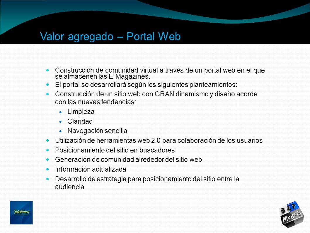 Valor agregado – Portal Web Construcción de comunidad virtual a través de un portal web en el que se almacenen las E-Magazines. El portal se desarroll