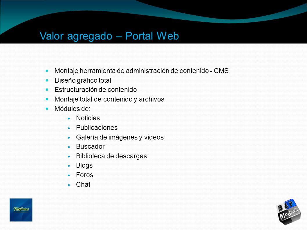 Valor agregado – Portal Web Montaje herramienta de administración de contenido - CMS Diseño gráfico total Estructuración de contenido Montaje total de