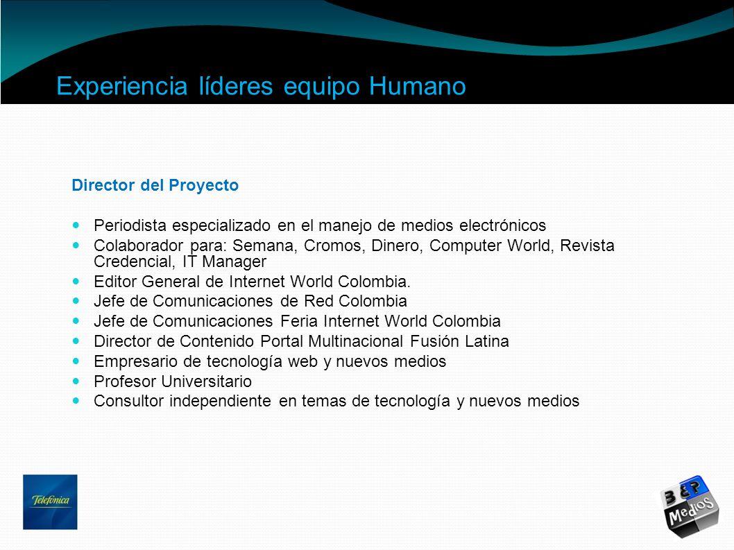 Experiencia líderes equipo Humano Director del Proyecto Periodista especializado en el manejo de medios electrónicos Colaborador para: Semana, Cromos,