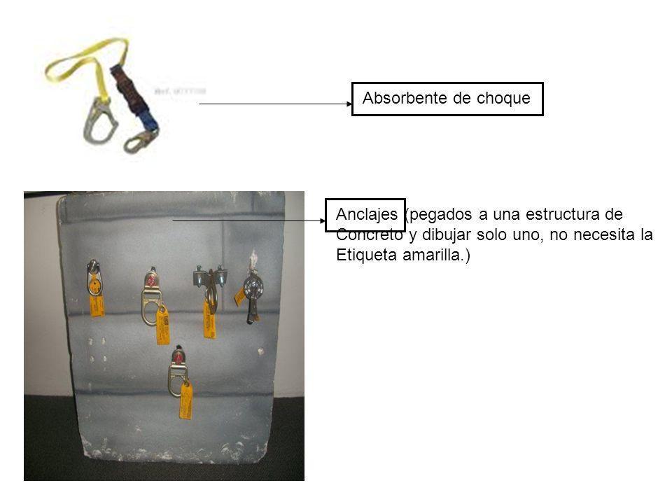 Absorbente de choque Anclajes (pegados a una estructura de Concreto y dibujar solo uno, no necesita la Etiqueta amarilla.)
