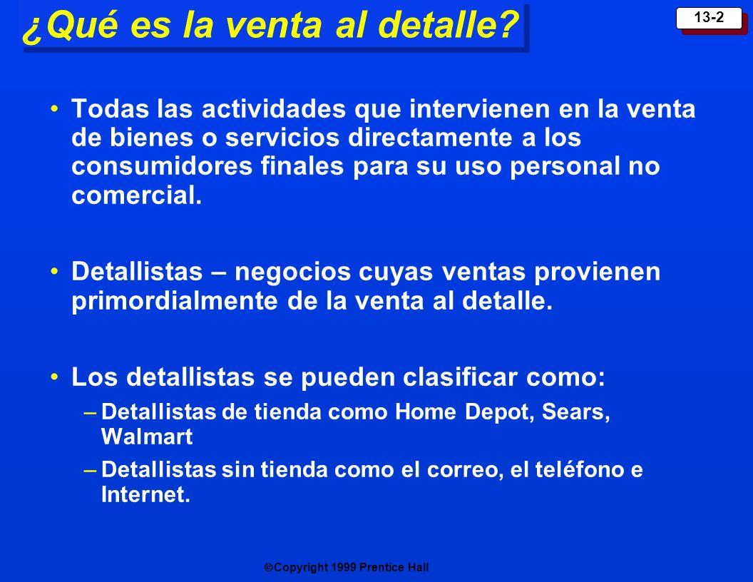 Copyright 1999 Prentice Hall 13-2 ¿Qué es la venta al detalle? Todas las actividades que intervienen en la venta de bienes o servicios directamente a