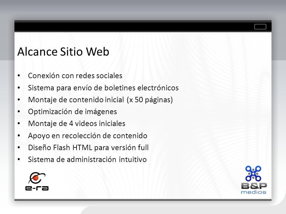 Alcance Sitio Web Conexión con redes sociales Sistema para envío de boletines electrónicos Montaje de contenido inicial (x 50 páginas) Optimización de
