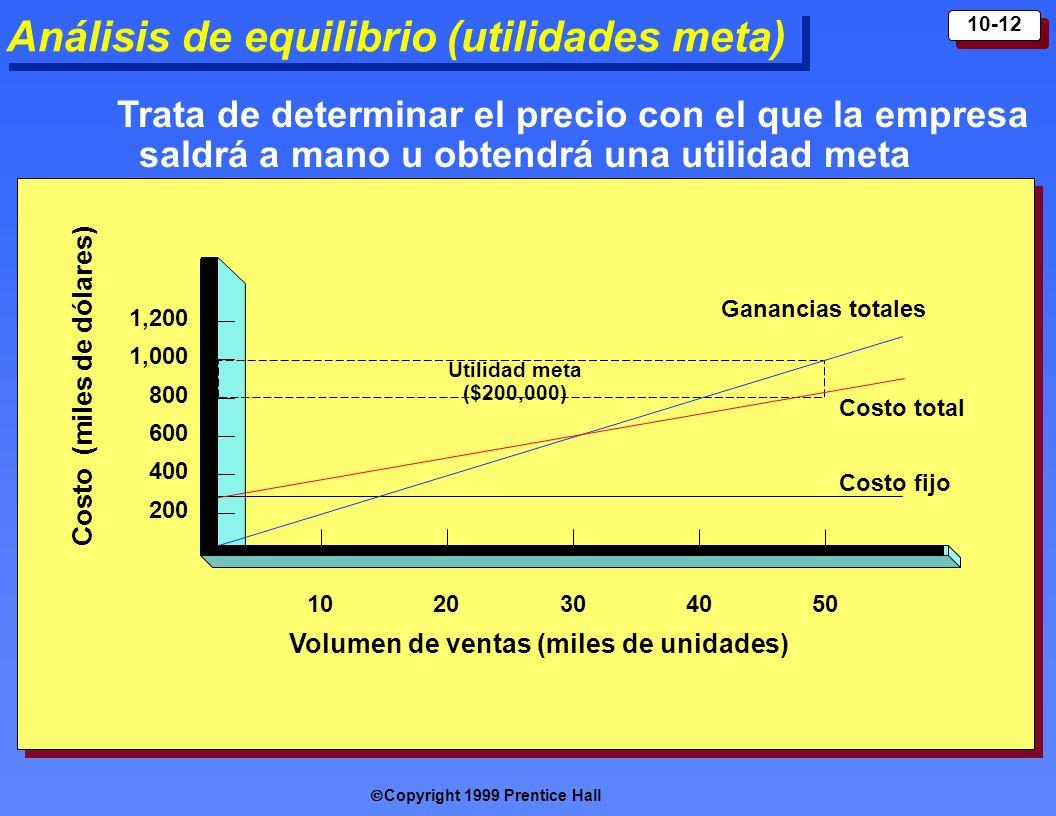 Copyright 1999 Prentice Hall 10-12 Análisis de equilibrio (utilidades meta) 200 400 600 800 1,000 1,200 1020304050 Ganancias totales Costo total Costo