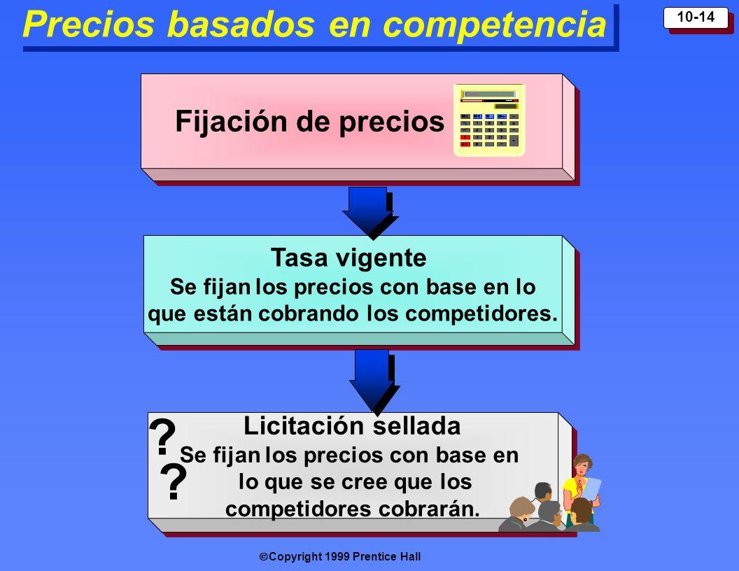 Copyright 1999 Prentice Hall 10-14 Precios basados en competencia Fijación de precios Licitación sellada Se fijan los precios con base en lo que se cr