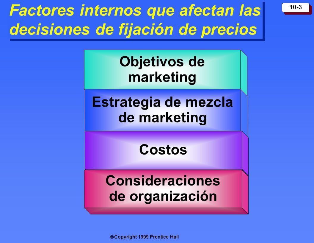 Copyright 1999 Prentice Hall 10-3 Factores internos que afectan las decisiones de fijación de precios Objetivos de m arketing Estrategia de mezcla de