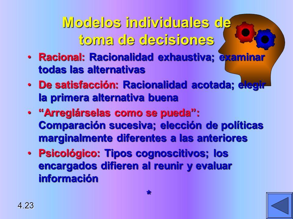 Racional: Racionalidad exhaustiva; examinar todas las alternativasRacional: Racionalidad exhaustiva; examinar todas las alternativas De satisfacción: