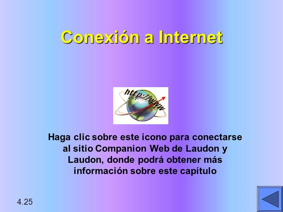 Conexión a Internet Haga clic sobre este icono para conectarse al sitio Companion Web de Laudon y Laudon, donde podrá obtener más información sobre es