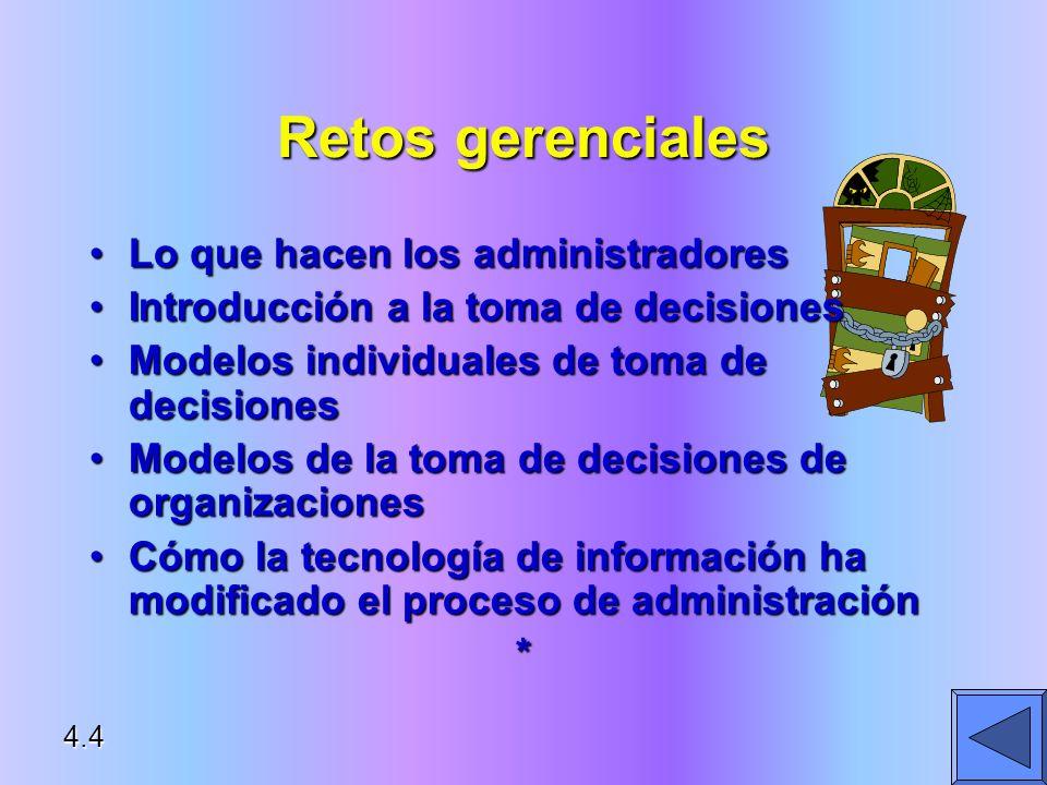 Retos gerenciales Lo que hacen los administradoresLo que hacen los administradores Introducción a la toma de decisionesIntroducción a la toma de decis