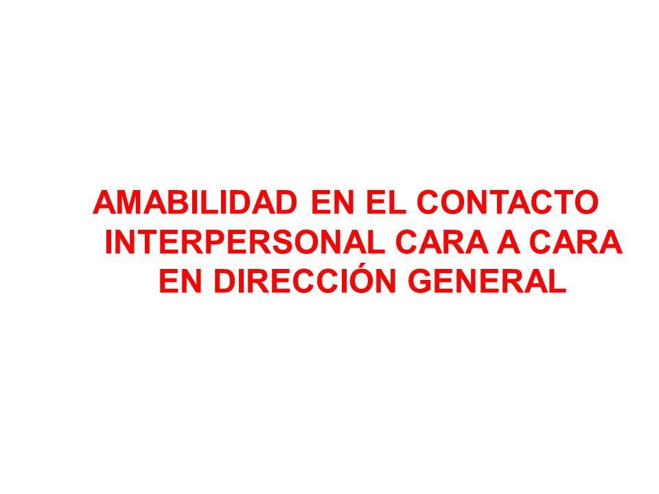 AMABILIDAD EN EL CONTACTO INTERPERSONAL CARA A CARA EN DIRECCIÓN GENERAL