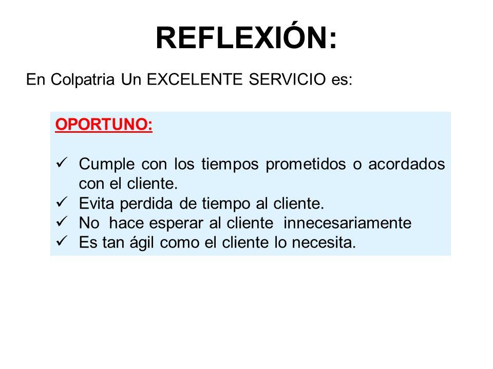 REFLEXIÓN: OPORTUNO: Cumple con los tiempos prometidos o acordados con el cliente. Evita perdida de tiempo al cliente. No hace esperar al cliente inne