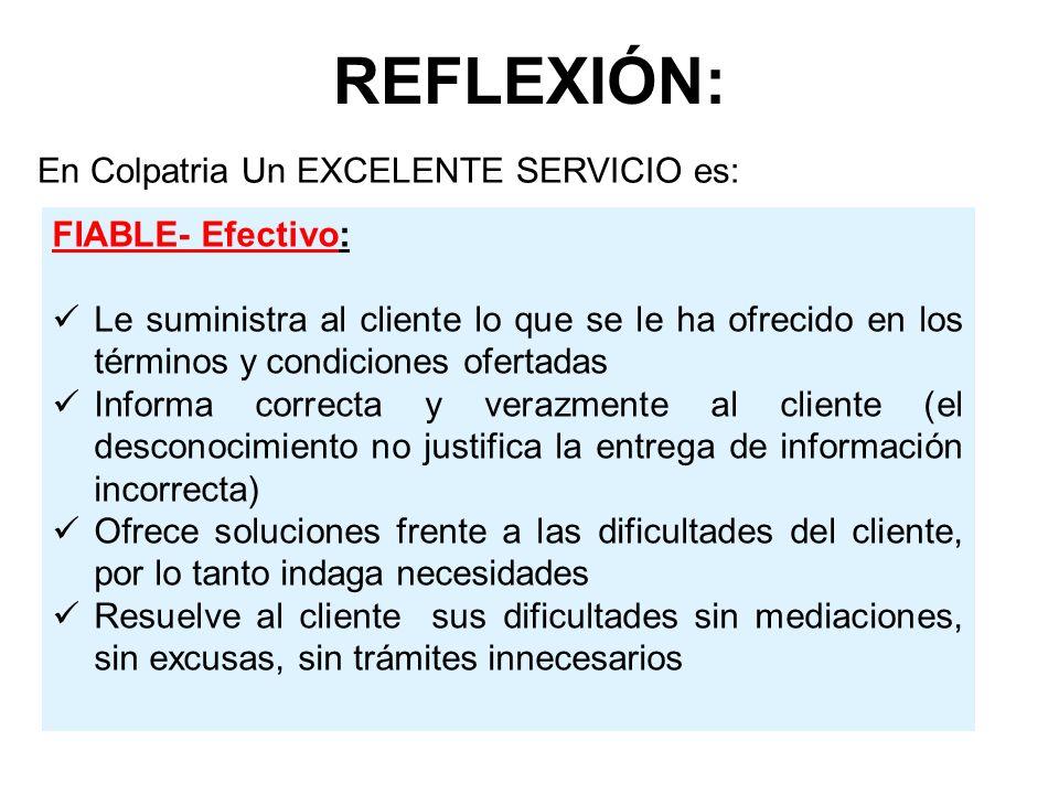 REFLEXIÓN: En Colpatria Un EXCELENTE SERVICIO es: FIABLE- Efectivo: Le suministra al cliente lo que se le ha ofrecido en los términos y condiciones of