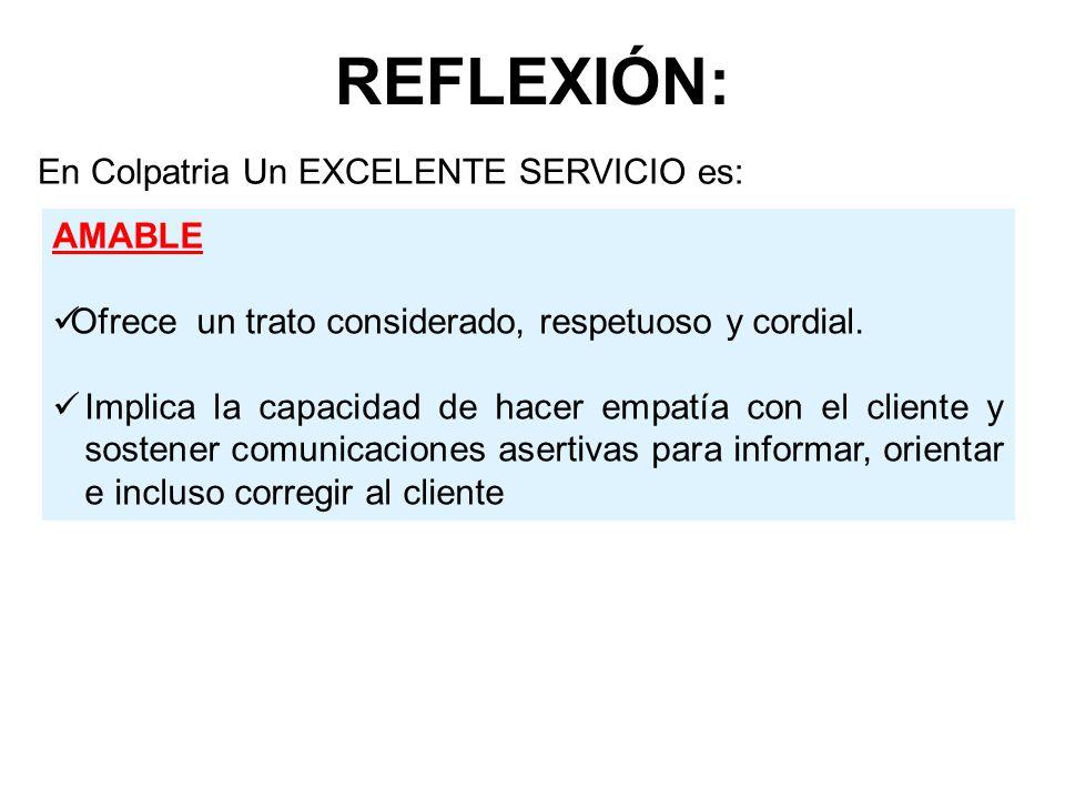 REFLEXIÓN: En Colpatria Un EXCELENTE SERVICIO es: AMABLE Ofrece un trato considerado, respetuoso y cordial. Implica la capacidad de hacer empatía con