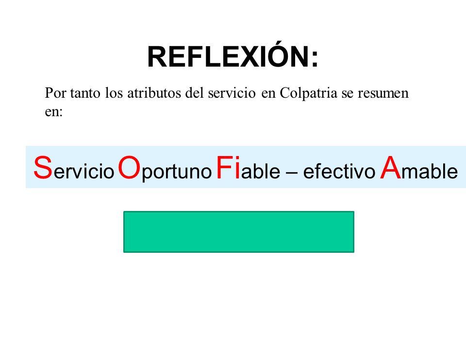 REFLEXIÓN: S ervicio O portuno Fi able – efectivo A mable Por tanto los atributos del servicio en Colpatria se resumen en: