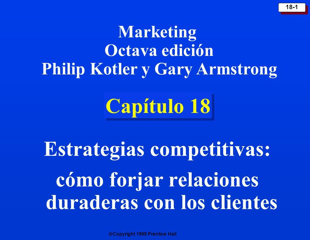 Copyright 1999 Prentice Hall 18-1 Capítulo 18 Estrategias competitivas: cómo forjar relaciones duraderas con los clientes Marketing Octava edición Phi