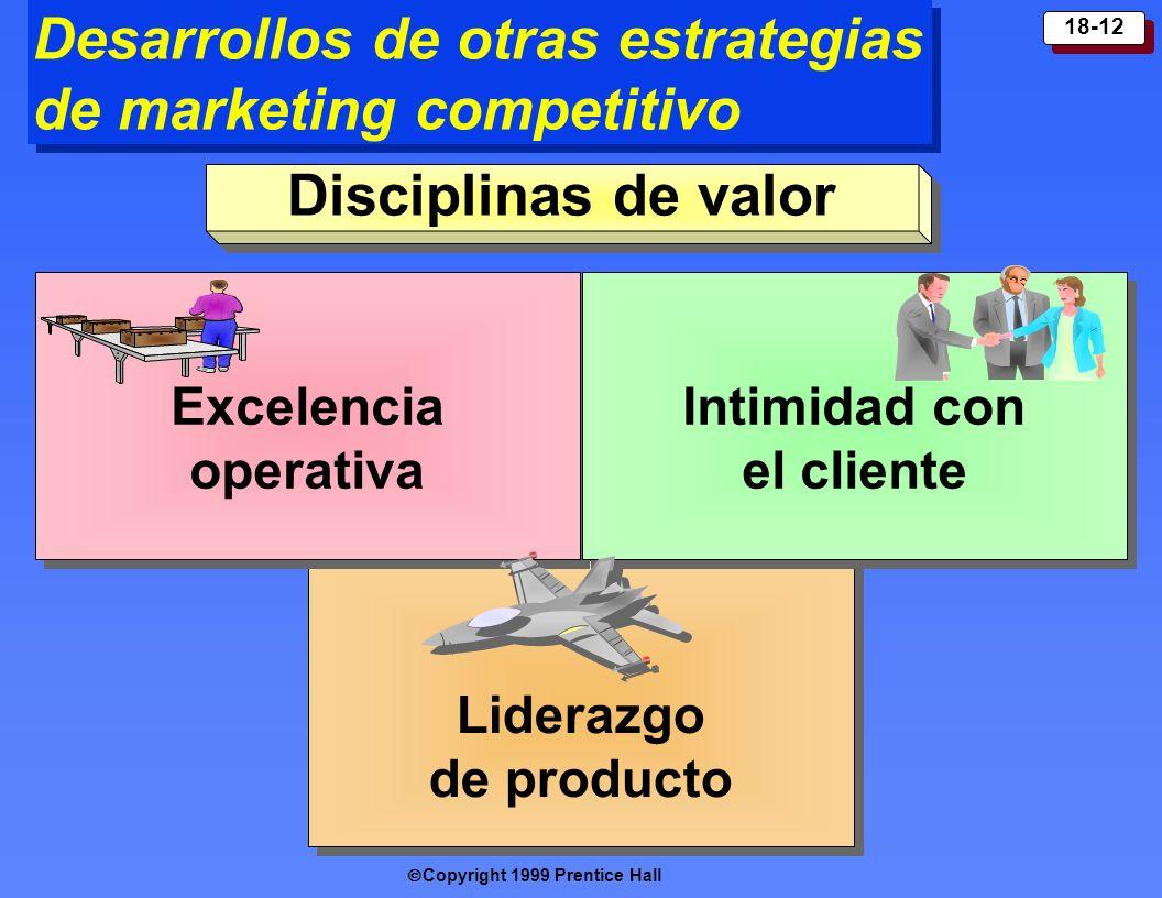Copyright 1999 Prentice Hall 18-12 Desarrollos de otras estrategias de marketing competitivo Liderazgo de producto Excelencia operativa Excelencia ope