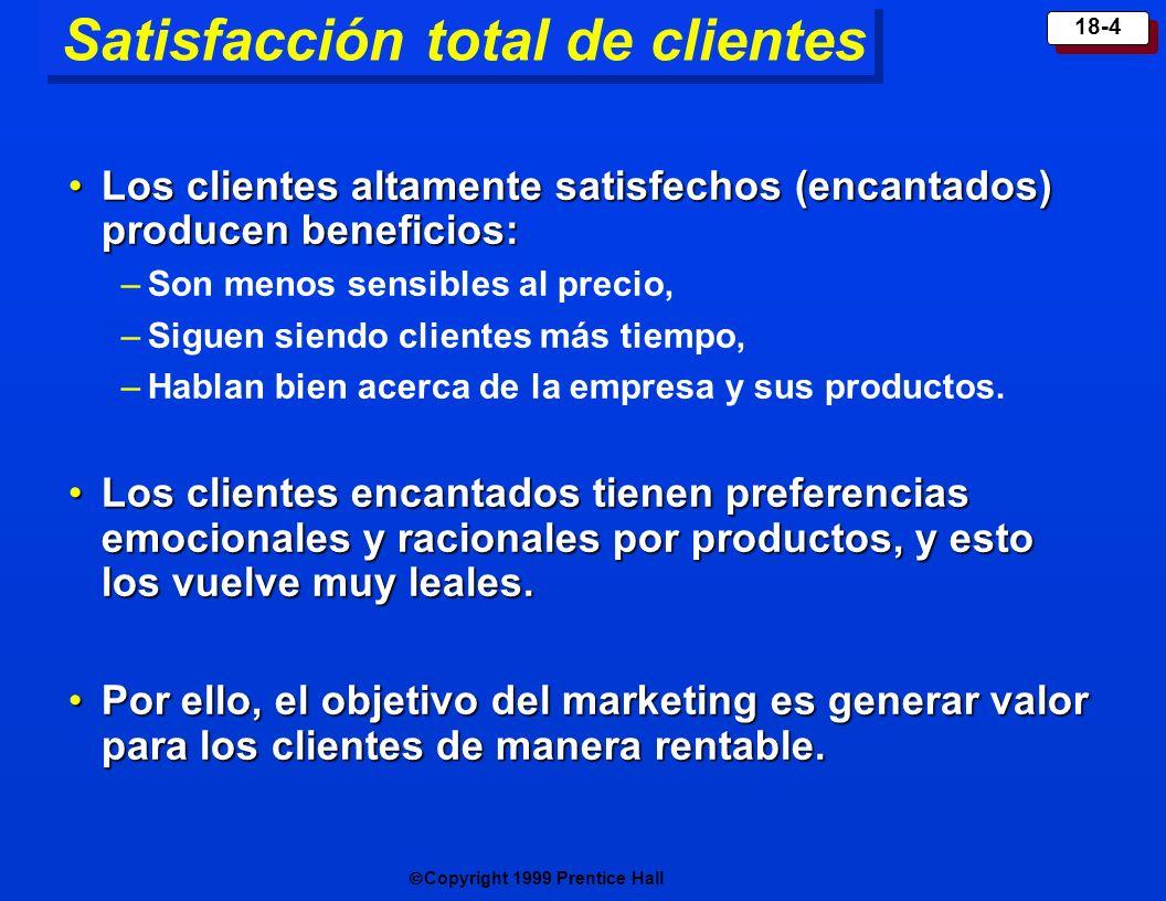 Copyright 1999 Prentice Hall 18-4 Satisfacción total de clientes Los clientes altamente satisfechos (encantados) producen beneficios:Los clientes alta