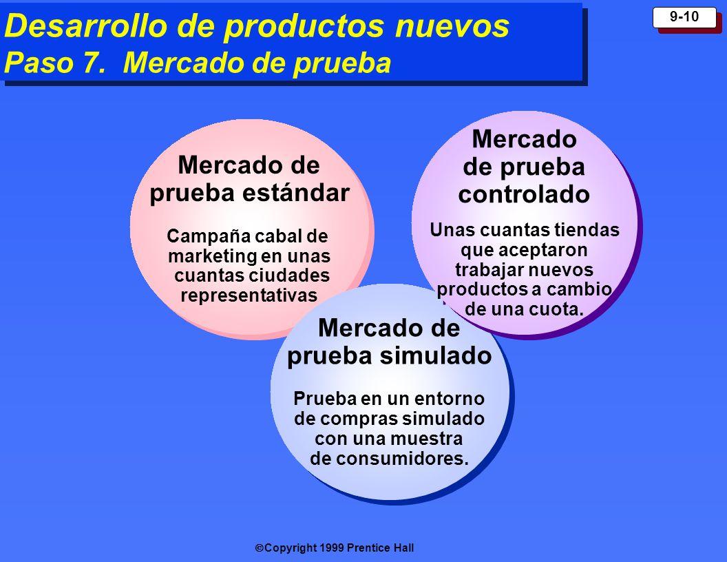 Copyright 1999 Prentice Hall 9-10 Desarrollo de productos nuevos Paso 7. Mercado de prueba Mercado de prueba estándar Campaña cabal de marketing en un