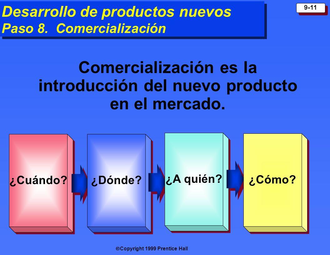 Copyright 1999 Prentice Hall 9-11 Desarrollo de productos nuevos Paso 8. Comercialización ¿Cuándo ? ¿Dónde ? ¿A quién ? ¿Cómo ? Comercialización es la