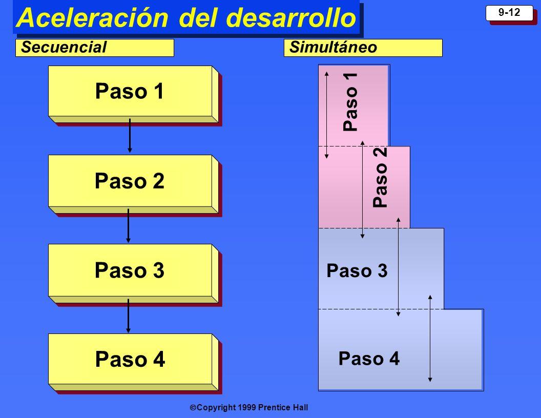 Copyright 1999 Prentice Hall 9-12 Aceleración del desarrollo Paso 1 Paso 2 Paso 3 Paso 4 Paso 1 Paso 2 Paso 3 Paso 4 SecuencialSimultáneo