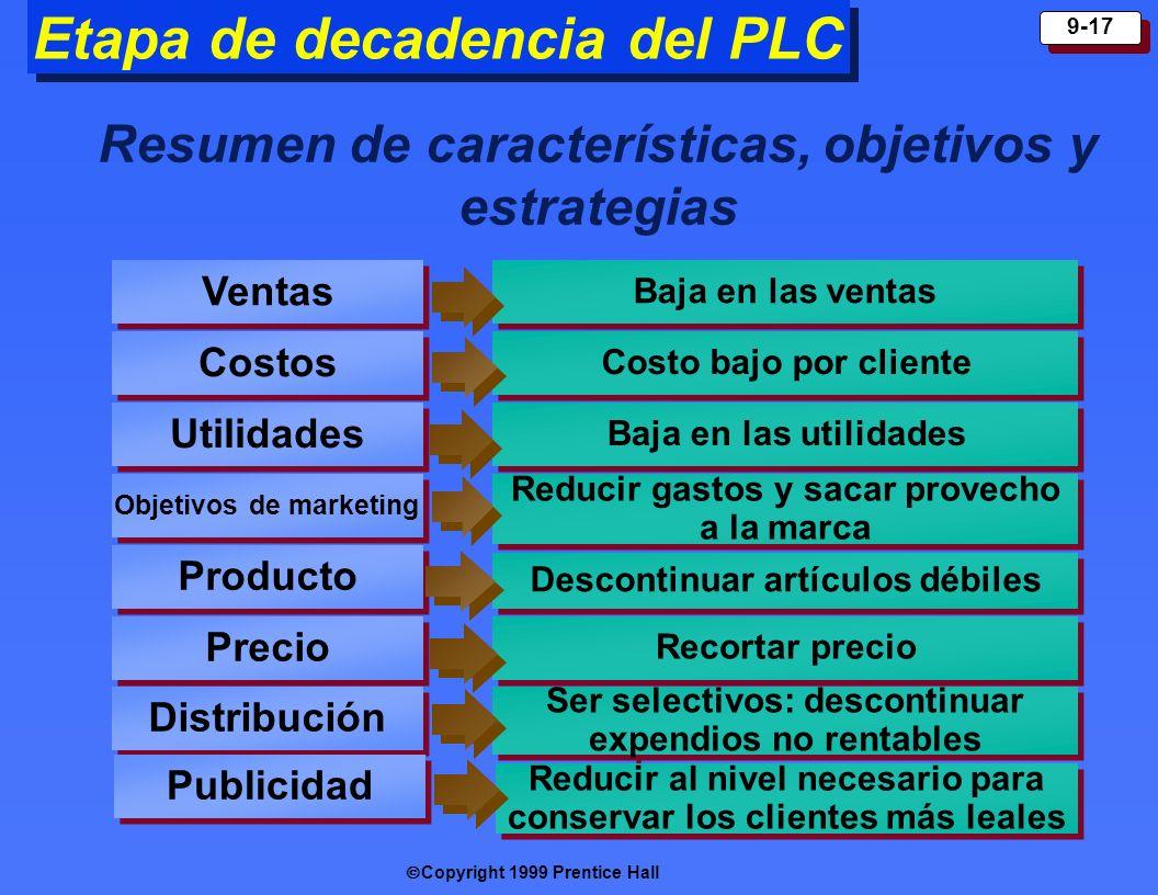 Copyright 1999 Prentice Hall 9-17 Etapa de decadencia del PLC Resumen de características, objetivos y estrategias Ventas Costos Utilidades Objetivos d