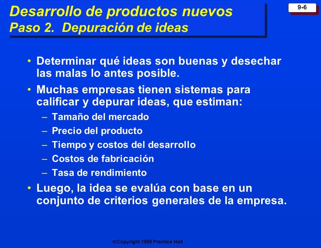 Copyright 1999 Prentice Hall 9-6 Determinar qué ideas son buenas y desechar las malas lo antes posible. Muchas empresas tienen sistemas para calificar