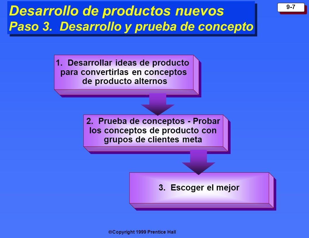 Copyright 1999 Prentice Hall 9-7 Desarrollo de productos nuevos Paso 3. Desarrollo y prueba de concepto 1. De sarrollar ideas de producto para convert