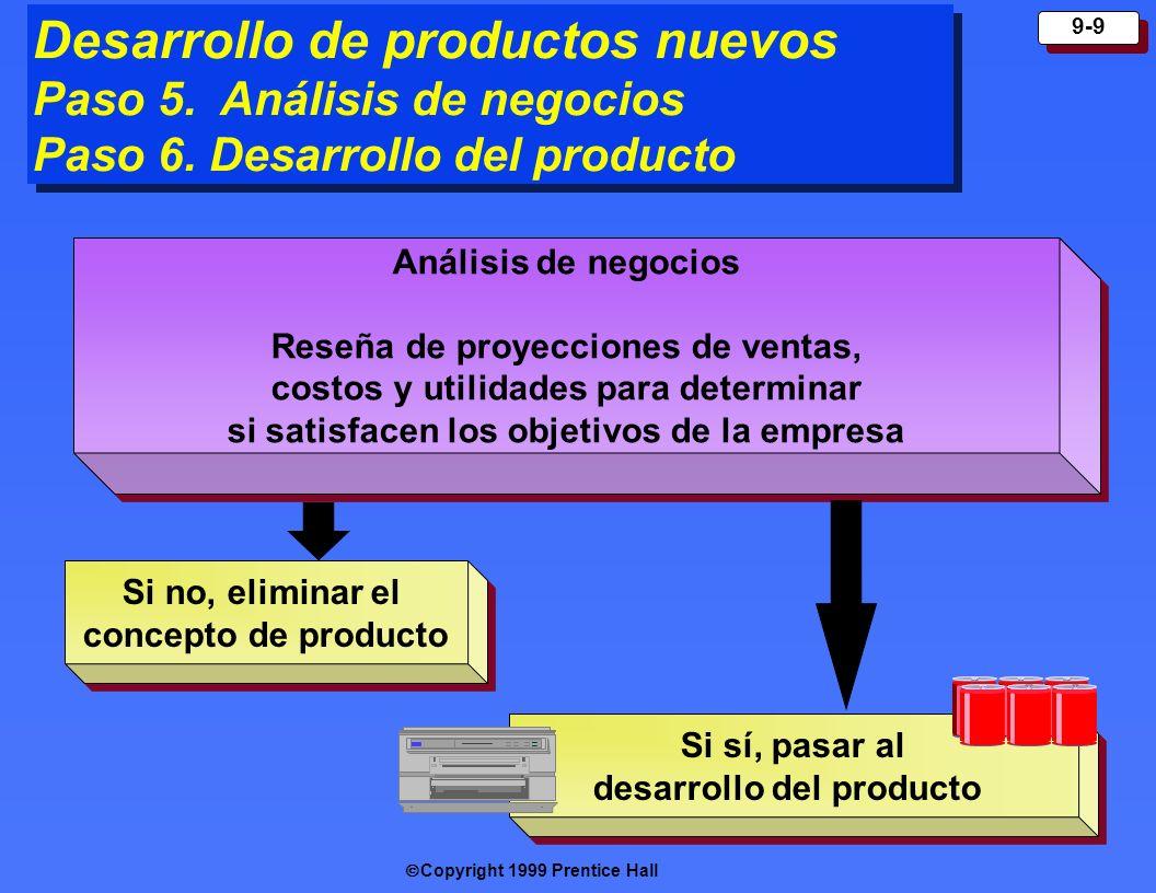 Copyright 1999 Prentice Hall 9-9 Desarrollo de productos nuevos Paso 5. Análisis de negocios Paso 6. Desarrollo del producto Desarrollo de productos n