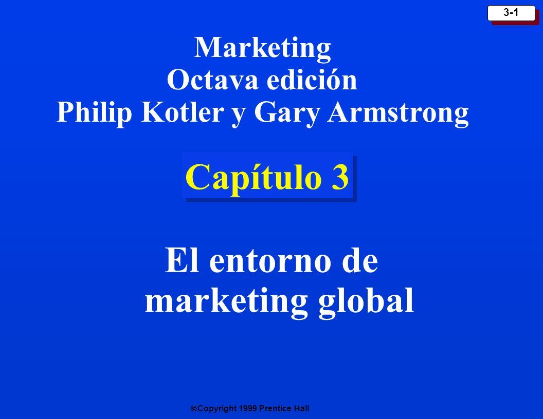 Copyright 1999 Prentice Hall 3-2 Entorno de marketing Todos los actores y fuerzas que influyen en la capacidad de la empresa para efectuar transacciones de negocios de manera eficaz con su mercado meta.