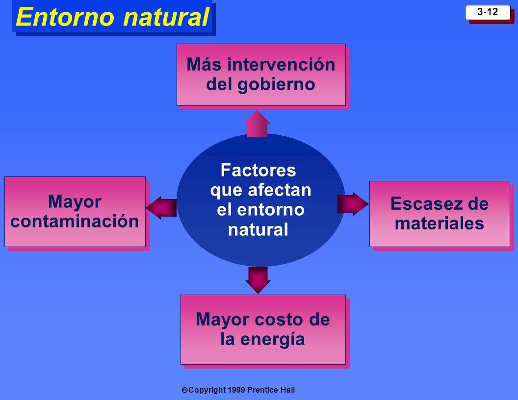 Copyright 1999 Prentice Hall 3-12 Entorno natural Factores que afectan el entorno natural Más intervención del gobierno Más intervención del gobierno