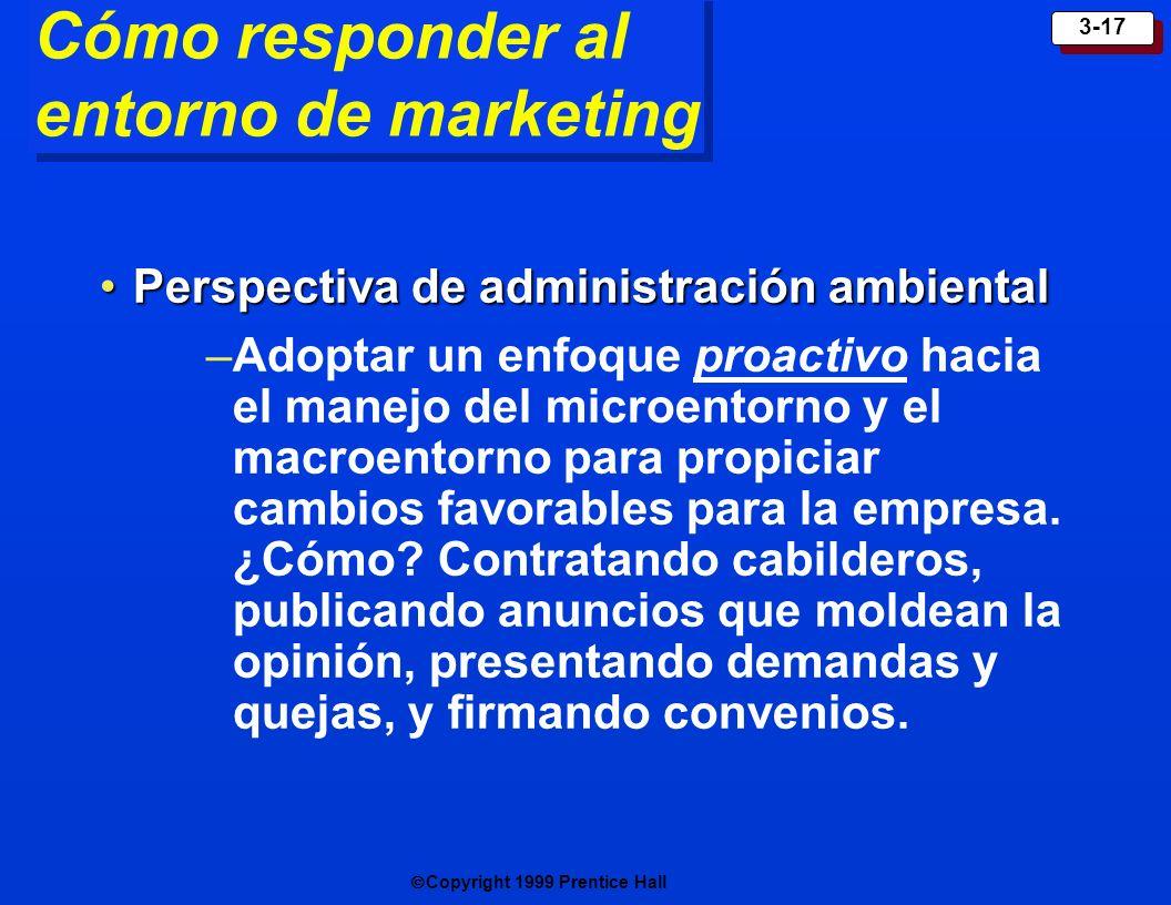 Copyright 1999 Prentice Hall 3-17 Cómo responder al entorno de marketing Perspectiva de administración ambientalPerspectiva de administración ambienta