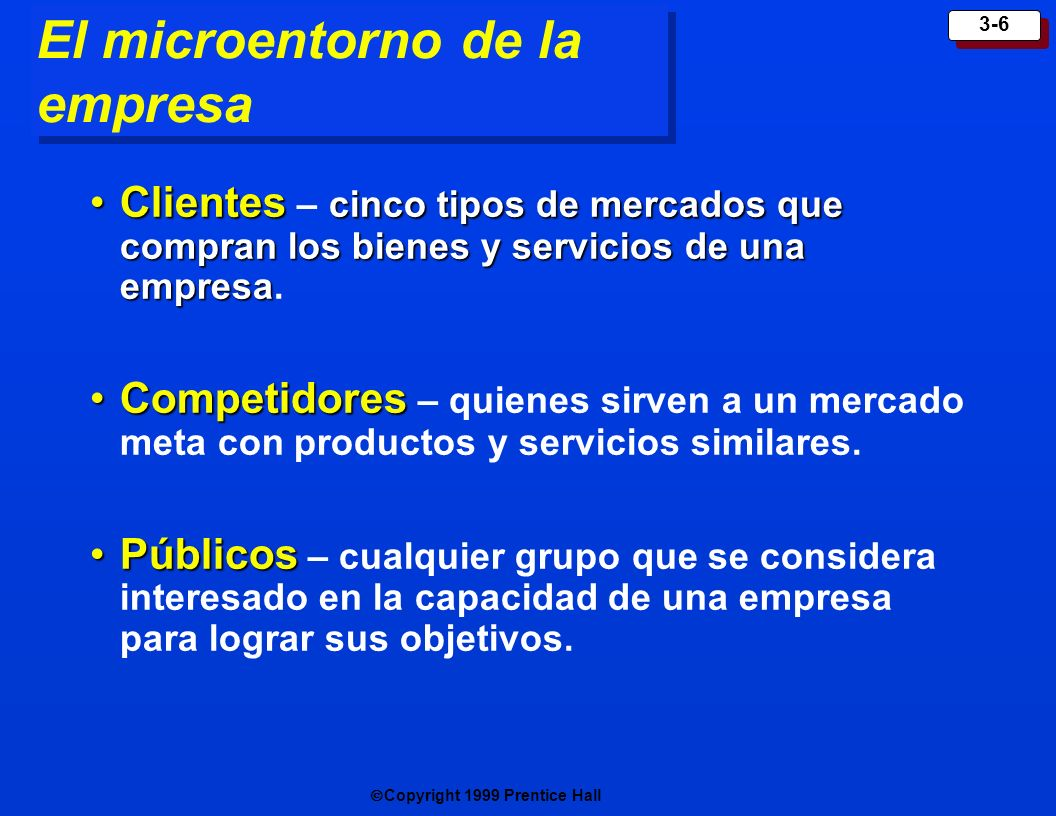 Copyright 1999 Prentice Hall 3-6 El microentorno de la empresa Clientes cinco tipos de mercados que compran los bienes y servicios de una empresaClien