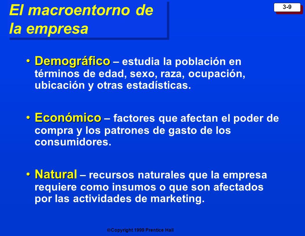 Copyright 1999 Prentice Hall 3-9 El macroentorno de la empresa DemográficoDemográfico – estudia la población en términos de edad, sexo, raza, ocupació
