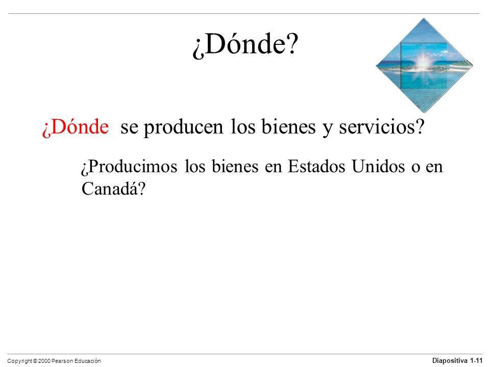 Diapositiva 1-11 Copyright © 2000 Pearson Educación ¿Dónde? ¿Dónde se producen los bienes y servicios? ¿Producimos los bienes en Estados Unidos o en C