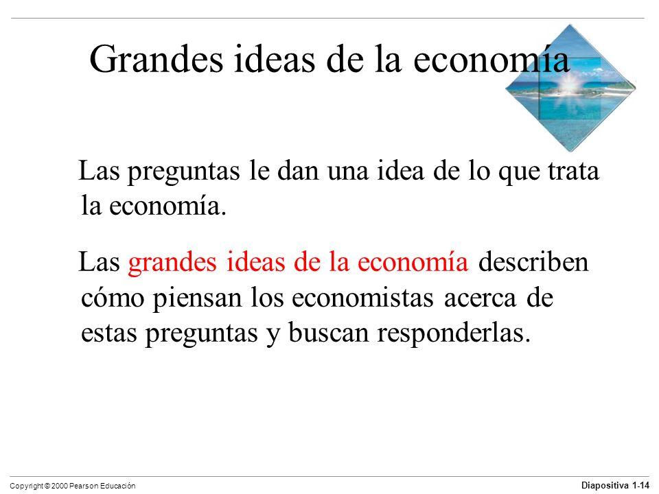 Diapositiva 1-14 Copyright © 2000 Pearson Educación Grandes ideas de la economía Las preguntas le dan una idea de lo que trata la economía. Las grande