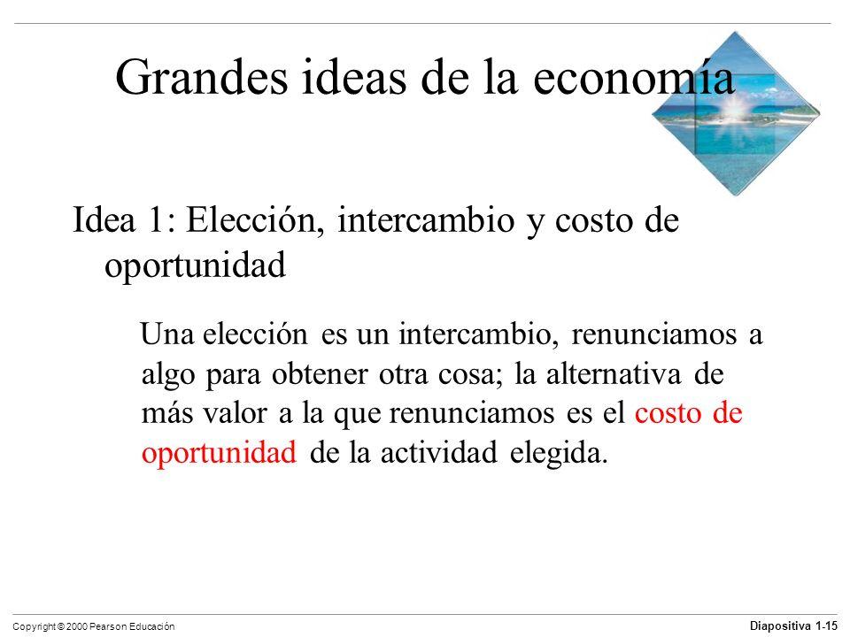 Diapositiva 1-15 Copyright © 2000 Pearson Educación Grandes ideas de la economía Idea 1: Elección, intercambio y costo de oportunidad Una elección es