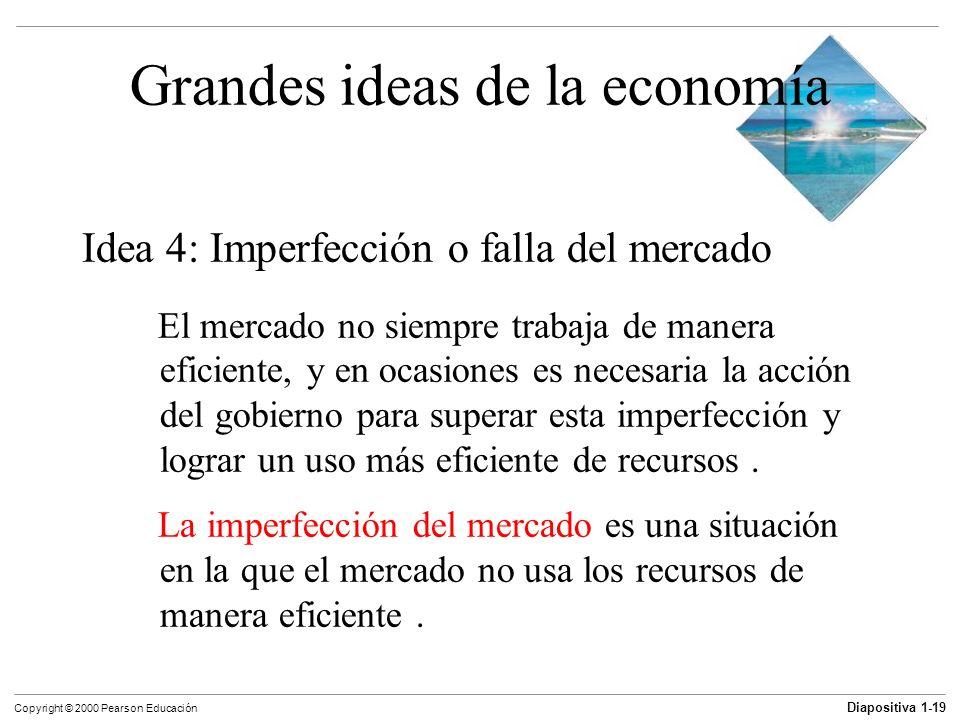 Diapositiva 1-19 Copyright © 2000 Pearson Educación Grandes ideas de la economía Idea 4: Imperfección o falla del mercado El mercado no siempre trabaj