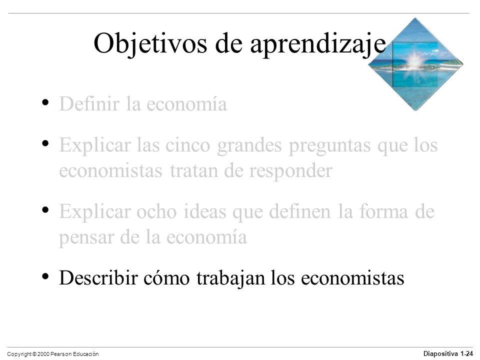 Diapositiva 1-24 Copyright © 2000 Pearson Educación Objetivos de aprendizaje Definir la economía Explicar las cinco grandes preguntas que los economis