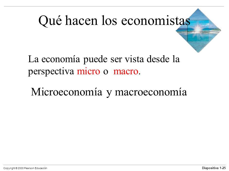 Diapositiva 1-25 Copyright © 2000 Pearson Educación Qué hacen los economistas La economía puede ser vista desde la perspectiva micro o macro. Microeco