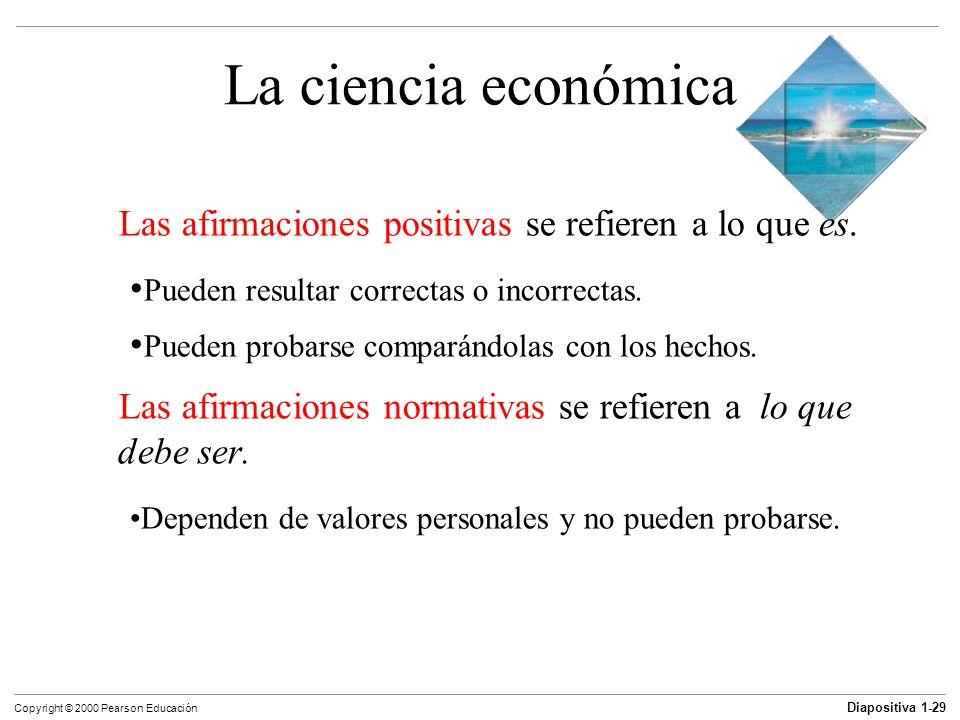 Diapositiva 1-29 Copyright © 2000 Pearson Educación La ciencia económica Las afirmaciones positivas se refieren a lo que es. Pueden resultar correctas